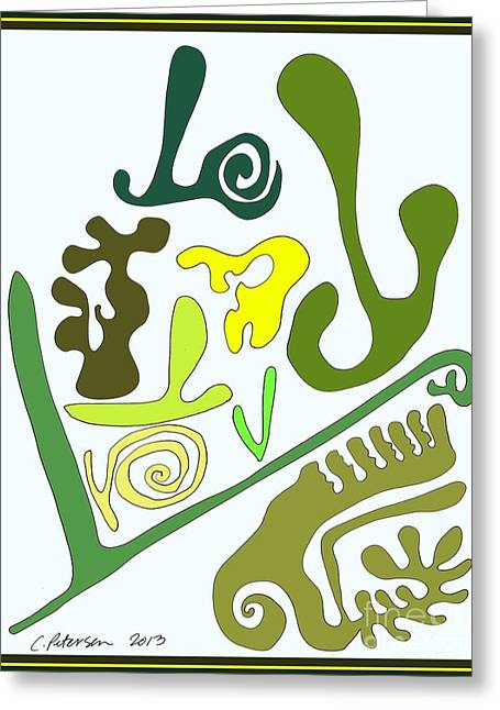 Cut-outs Drawings Greeting Cards - Finding the LOVE in my Garden.  Greeting Card by Cathy Peterson