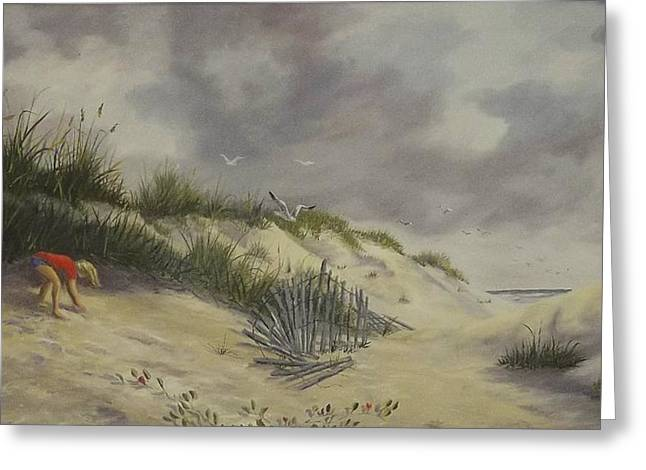 Sand Dunes Paintings Greeting Cards - Finding Treasure Greeting Card by Wanda Dansereau