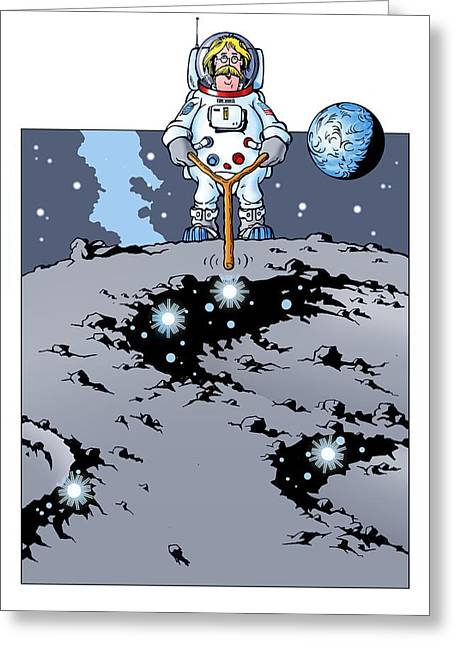 Man On The Moon Greeting Cards - Finding water on the moon, artwork Greeting Card by Science Photo Library