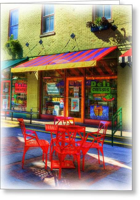 Red Buildings Mixed Media Greeting Cards - Findlay Market in Cincinnati 1 Greeting Card by Mel Steinhauer
