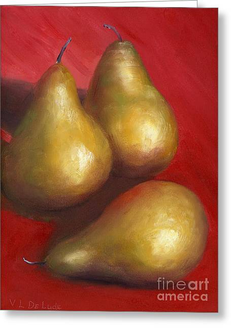 The Real Thing Greeting Cards - Fine Art Hand Painted Golden Pears Red Background Greeting Card by Lenora  De Lude