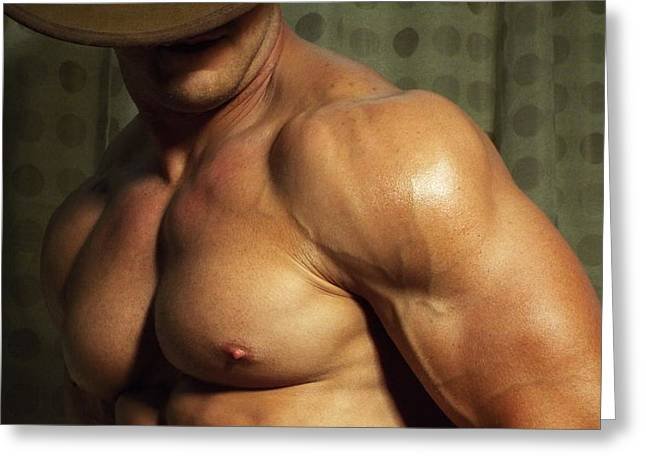 Art Of Muscle Greeting Cards - Fine Art of Pecs Greeting Card by Jake Hartz