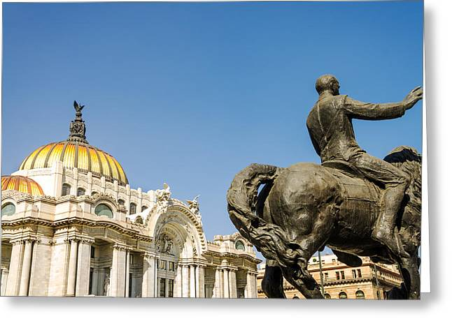 Mexico City Greeting Cards - Fine Arts Palace and Statue Greeting Card by Jess Kraft