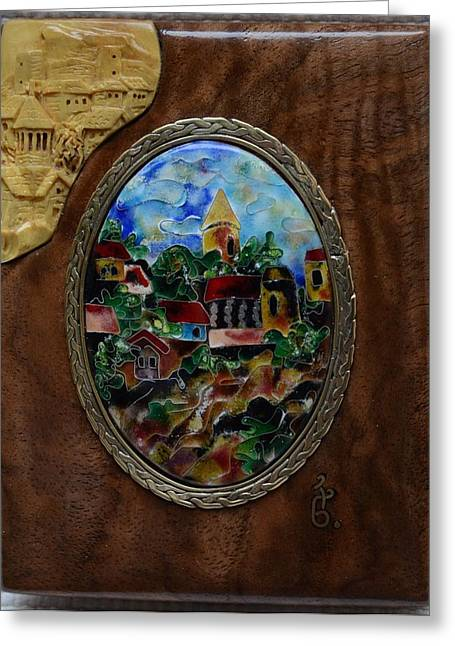 Miniature Glass Greeting Cards - Fine Cloisonne Enamel Miniature paysage Greeting Card by Nino Berdzenishvili