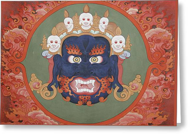 Face Tapestries - Textiles Greeting Cards -  Face Design Greeting Card by Tenzin  Dhonden