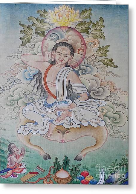 Milarepa Greeting Cards - fine MiLAREPA scrolling paintings  Greeting Card by Tenzin  Dhonden