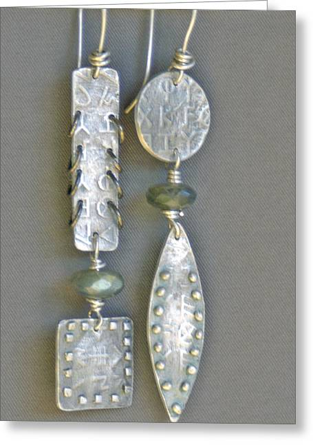 Jewelry Jewelry Greeting Cards - Fine Silver Mismatched Earrings Greeting Card by Mirinda Kossoff