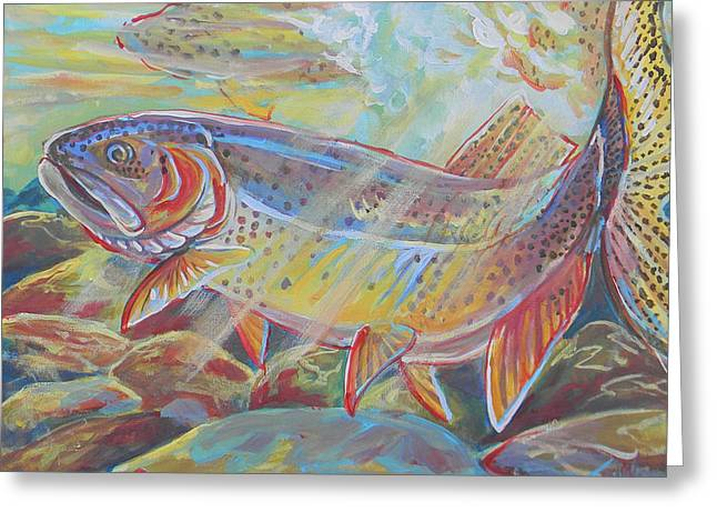 Jenn Cunningham Greeting Cards - Fine Spotted Cutthroat Trout Greeting Card by Jenn Cunningham