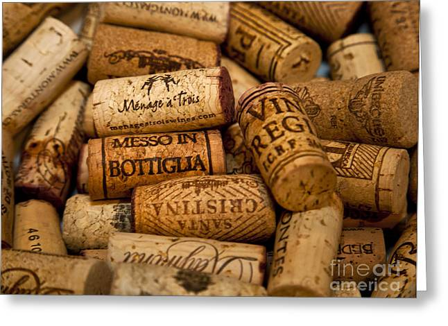 Saloons Greeting Cards - Fine Wine Corks Greeting Card by David Millenheft