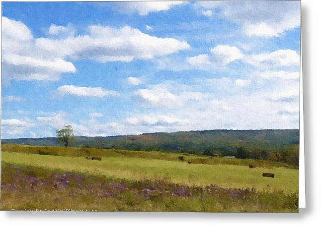 Finger Lakes Paintings Greeting Cards - Finger Lakes Farm Greeting Card by Michael DArienzo