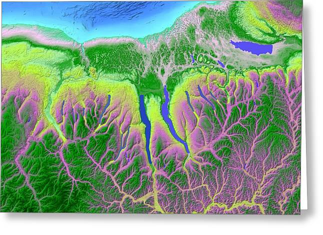 Geology Digital Art Greeting Cards - Finger Lakes Map Art Greeting Card by Paul Hein