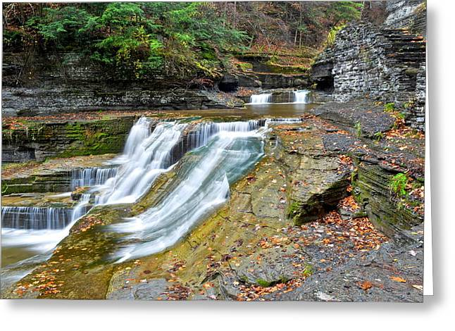 Finger Lakes Greeting Cards - Finger Lakes Robert Treman Park Greeting Card by Frozen in Time Fine Art Photography