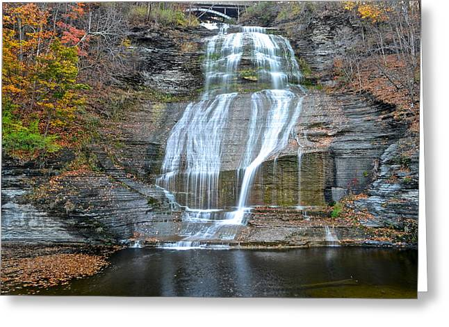 Finger Lakes Greeting Cards - Finger Lakes Water Cascade Greeting Card by Frozen in Time Fine Art Photography