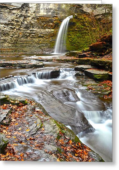 Finger Lakes Greeting Cards - Finger Lakes Waterfall Greeting Card by Frozen in Time Fine Art Photography
