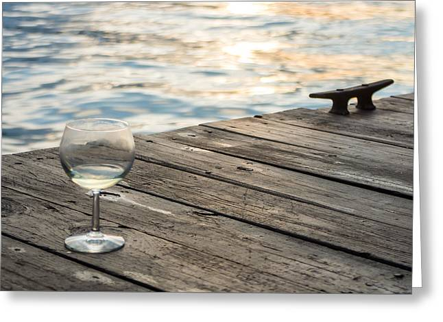 Finger Lakes Wine Tasting - Wine Glass On The Dock Greeting Card by Photographic Arts And Design Studio
