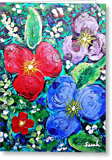 Finger Painted Flowers Greeting Card by Sarah Loft