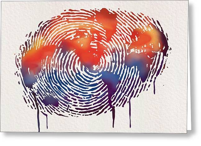 Blue Drip Greeting Cards - Finger print map of the world Greeting Card by Sassan Filsoof