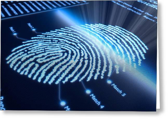 Fingerprint on pixellated screen Greeting Card by Johan Swanepoel