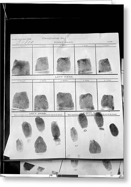 Ewing Greeting Cards - Fingerprints record, 1912 Greeting Card by Science Photo Library
