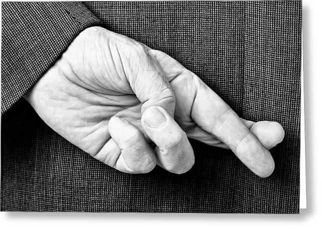 Fingers Crossed Mono Greeting Card by Antony McAulay