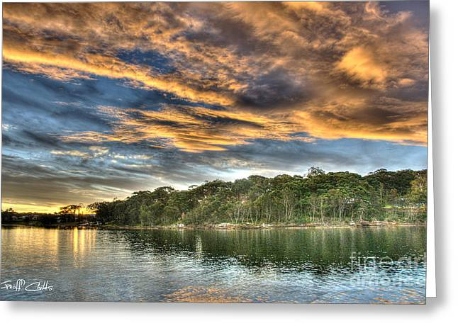 Fingers of Flame.  Sunset Greeting Card by Geoff Childs