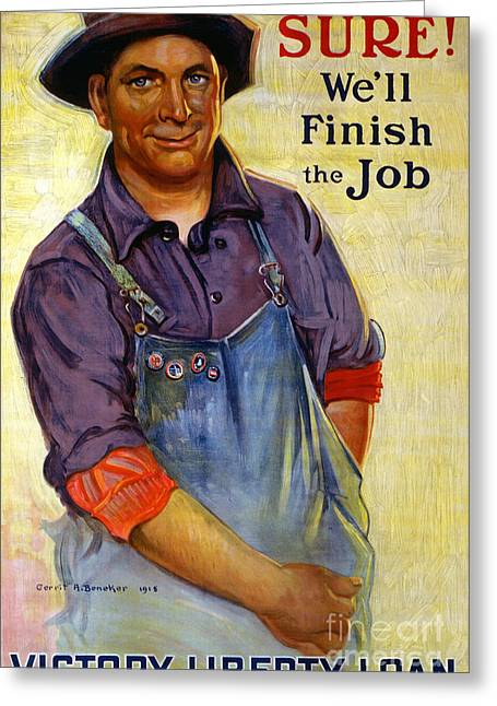 Farmer Drawings Greeting Cards - Finish the Job Greeting Card by Gerrit Albertus Beneker