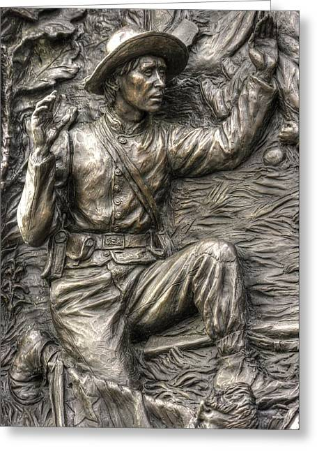 Aotp Greeting Cards - Finished - Surrendered.  State of Delaware Monument Detail-H Gettysburg Autumn Mid-Day. Greeting Card by Michael Mazaika