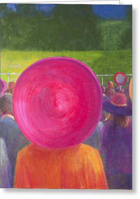 Finishing Greeting Cards - Finishing Post, Hats, 2014 Oil On Canvas Greeting Card by Lincoln Seligman