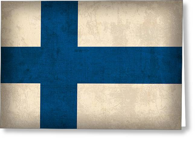 Helsinki Finland Greeting Cards - Finland Flag Vintage Distressed Finish Greeting Card by Design Turnpike