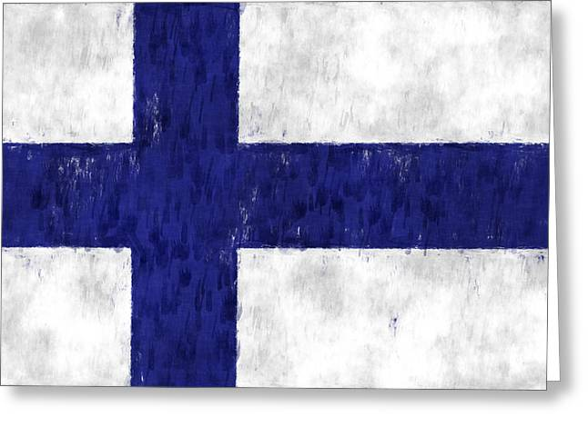 Finland Flag Greeting Card by World Art Prints And Designs