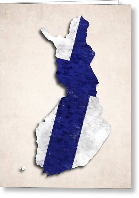 Atlas Greeting Cards - Finland Map Art with Flag Design Greeting Card by World Art Prints And Designs
