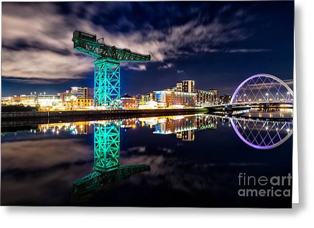 Scottish Art Greeting Cards - Finnieston Crane Green Greeting Card by John Farnan