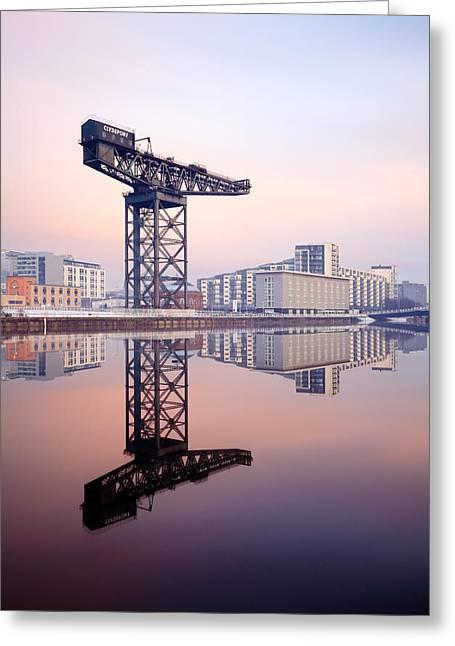 Scottish Scenic Greeting Cards - Finnieston crane reflection Greeting Card by Grant Glendinning