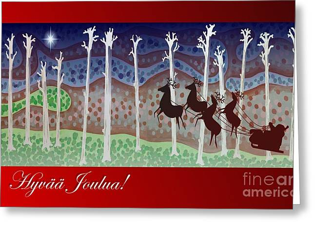 Recently Sold -  - Rudolph Greeting Cards - Finnish Christmas Card Greeting Card by Alan Hogan