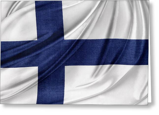 Waving Flag Greeting Cards - Finnish flag Greeting Card by Les Cunliffe