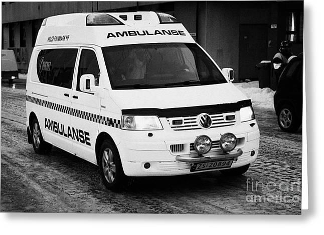 Finnmark Health Service Ambulance Honningsvag Norway Europe Greeting Card by Joe Fox