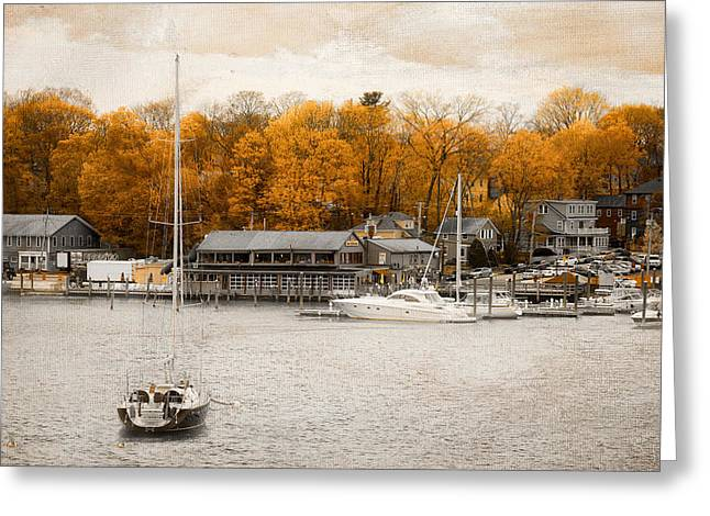 Docked Boat Greeting Cards - Finns Harborside East Greenwich Rhode Island Greeting Card by Lourry Legarde