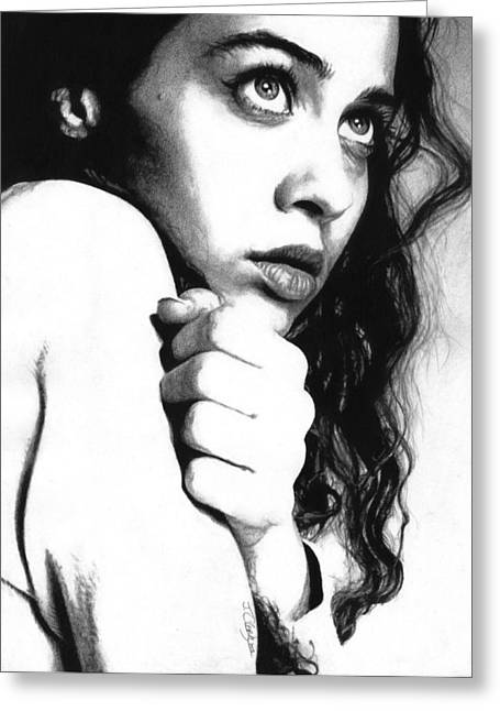 Singer Songwriter Drawings Greeting Cards - Fiona Apple Greeting Card by Justin Clark