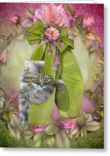 Kitten Prints Greeting Cards - Fiona The Ballerina Greeting Card by Carol Cavalaris