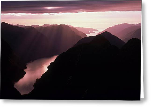 Mountain Valley Greeting Cards - Fiordland National Park New Zealand Greeting Card by Panoramic Images