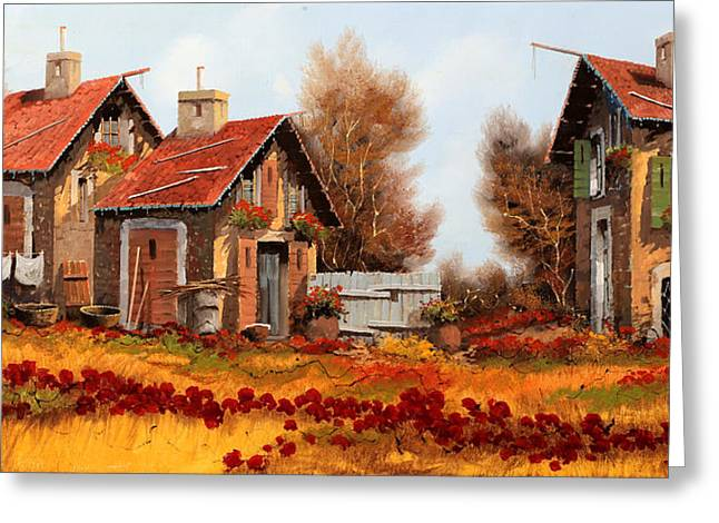 Country House Greeting Cards - Fiori Amaranto Su Prato Giallo Greeting Card by Guido Borelli