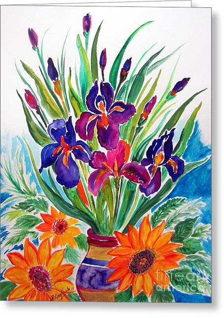 Vase Of Flowers Drawings Greeting Cards - Fiori fiori fiori Greeting Card by Roberto Gagliardi