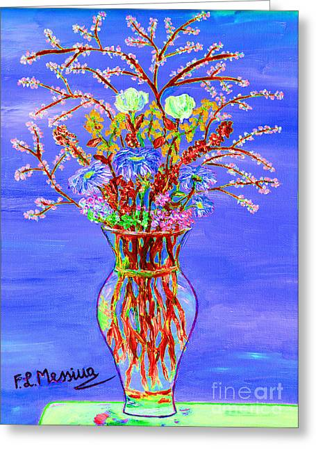 Vase Of Flowers Mixed Media Greeting Cards - Fiori Greeting Card by Loredana Messina