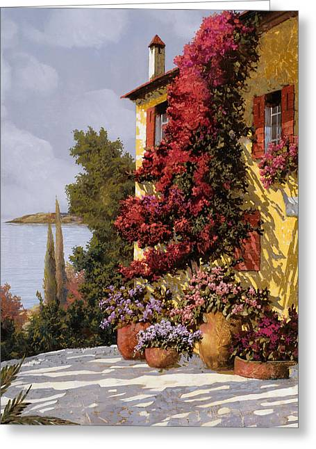 Piedmont Greeting Cards - Fiori Rosssi E Muri Gialli Greeting Card by Guido Borelli