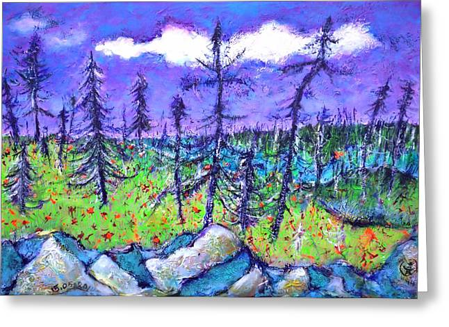 Fir Trees In The Taiga Greeting Card by Ion vincent DAnu