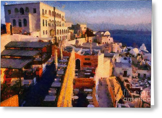 Fira City During Sunset Greeting Card by George Atsametakis