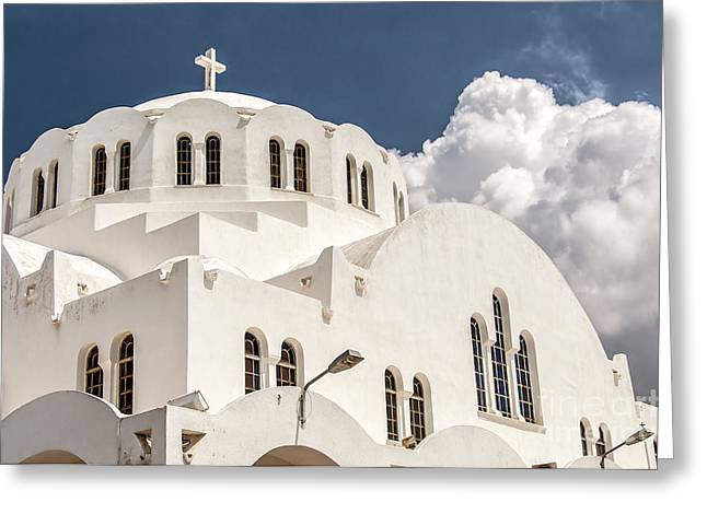 Cupola Greeting Cards - Fira Orthodox Metropolitan cathedral 04 Greeting Card by Antony McAulay
