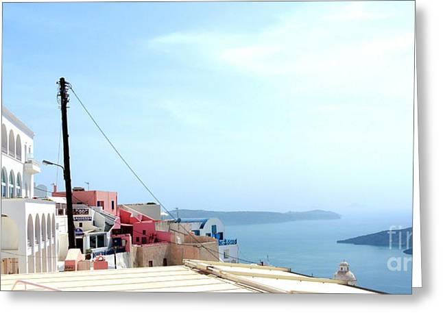 Fira Santorini Greeting Card by Sarah Christian