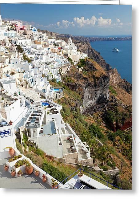 Fira, Santorini (thira Greeting Card by Peter Adams