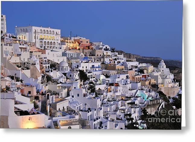 Santorini Greeting Cards - Fira town during dusk time Greeting Card by George Atsametakis